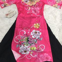 Set áo dài cách tân gấm tơ nền hồng in hoa lạ mắt giá sỉ, giá bán buôn