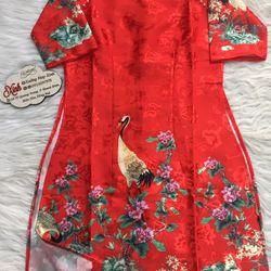 Set áo dài Gấm Nhật đỏ in họa tiết 3D chim hạc giá sỉ, giá bán buôn