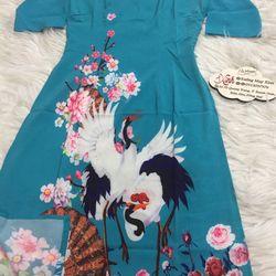 Set áo dài cách tân tơ nhung nền xanh in chim hạc giá sỉ, giá bán buôn