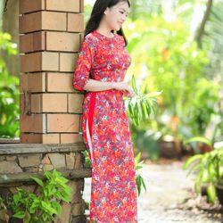 Áo dài truyền thống lụa vân gỗ hoa nhí