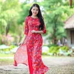 Áo dài truyền thống lụa vân gỗ hoa nhí giá sỉ, giá bán buôn