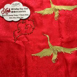 Set áo dài cách tân Gấm taffta đỏ kết chim phụng giá sỉ, giá bán buôn
