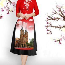 Set áo dài cách tân tơ nhung nền đỏ in phong cảnh