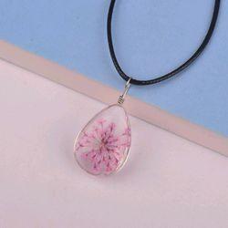dây chuyền da kèm mặt trong suốt ép hoa khô hồng giá sỉ