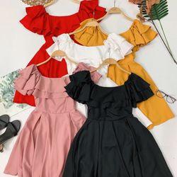 Đầm bẹt vai bèo 2 tầng giá sỉ