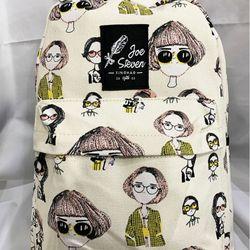 Ba lô kiểu Hàn Quốc màu vàng kem in hình cô gái thời trang BALOSUMO0017