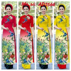 áo dài hoa tiết chim công tay phối ren siêu xinh giá sỉ