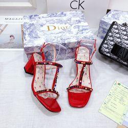 Giày sandal gót vuông 5f đính đá
