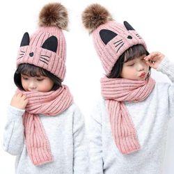 Bộ khăn mũ hình mèo trẻ embe 3-10tMTQAHF7AD0 giá sỉ