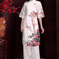 Set áo dài cách tân hoa hải đường giá sỉ