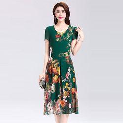 Đầm Hoa In Hình 3D Cổ Tròn Xòe Xếp Li Cao Cấp giá sỉ, giá bán buôn