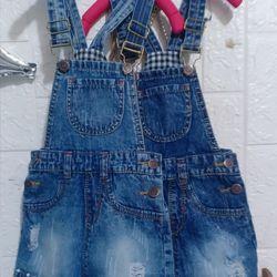 Yếm váy jeans bé gái nút đồng cao cấp giá sỉ