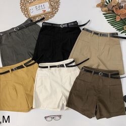 Quần short lưng cao kèm belt Short jean nhung trơn dày đẹp giá sỉ