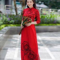 Áo dài lụa in hoa giá sỉ