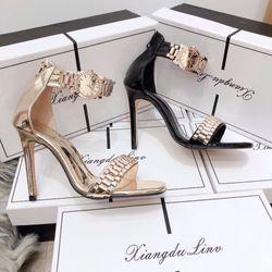 Giày sandal cao cao gót bản xích lắc đồng hồ giá sỉ