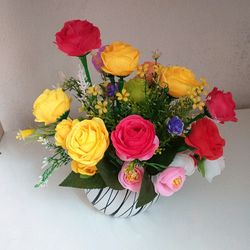 Hoa giả - Hồng lụa 10 bông 10 nụ - Đvt bụi