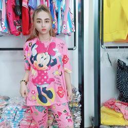 Đồ bộ nữ in hình chuột mickey màu hồng