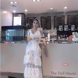 Đầm ren xẻ tà y hình a115 giá sỉ