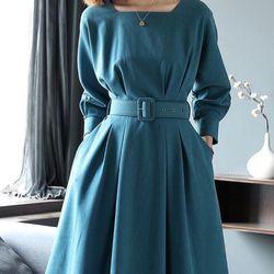 Đầm xanh kèm nịt cao cấp giá sỉ