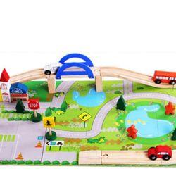 Đồ chơi lắp ráp mô hình giao thông thành phố bằng gỗ giá sỉ