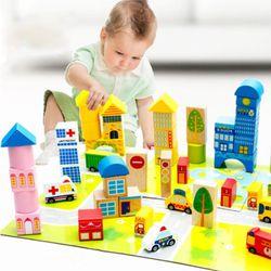 Bộ đồ chơi lắp ghép mô hình thành phố bằng gỗ 62 chi tiết giá sỉ