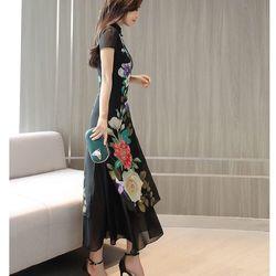 Đầm voal hoa hoạ tiết giá sỉ, giá bán buôn