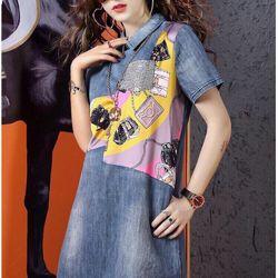 Đầm jean in hoạ tiết cao cấp giá sỉ