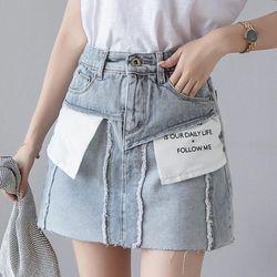 Chân váy Jean thiết kế lộn ngược-301 giá sỉ