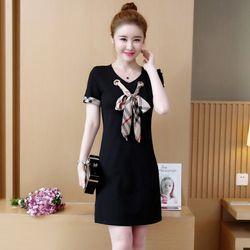 Đầm thun suông đen cột nơ đơn giản giá sỉ