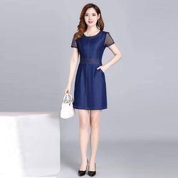 Đầm Jean Ôm Body Phối Tay Voan Lưới giá sỉ
