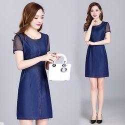 Đầm Jean Ôm Body Phối Tay Voan Lưới giá sỉ, giá bán buôn