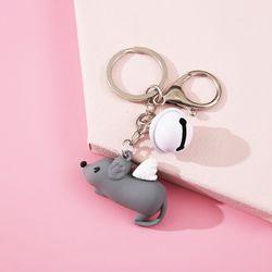Móc khóa silicon chuột chít chuông mini giá sỉ