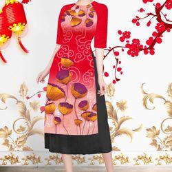 Set áo dài cách tân tơ nhung nền đỏ hoa lạ mắt