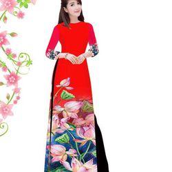 Set áo dài truyền thống gấm tơ nền đỏ hình in hoa sen giá sỉ