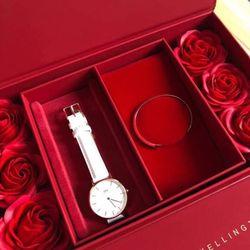 Set Đồng hồ D W da Cuff hoa hồng giá sỉ