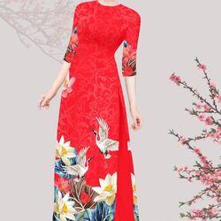 Set áo dài truyền thống gấm tơ nền đỏ hình in hoa sen hạc giá sỉ