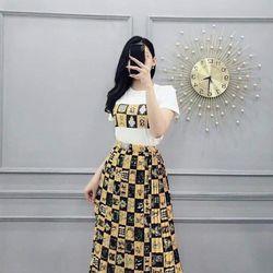 set áo tay con kèm váy in họa tiết
