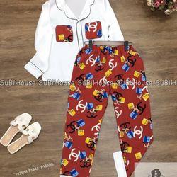 Đồ Bộ Pijama Lụa Quần Dài Tay Dài ChaNel giá sỉ