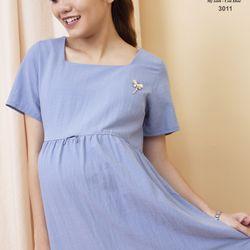 Đầm xòe midi thiết kế bé bú 3011