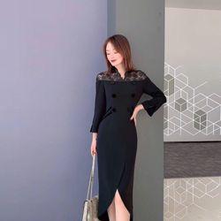 Đầm thun nút phối ren vai giá sỉ