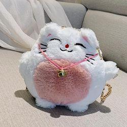 Túi đeo chéo chú mèo may mắn đeo chuông siêu dễ thương long mềm mượt-108