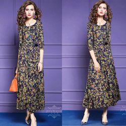 Đầm hoạ tiết hoa dáng dài giá sỉ