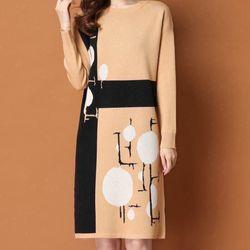 Đầm len hoạ tiết hình giá sỉ, giá bán buôn