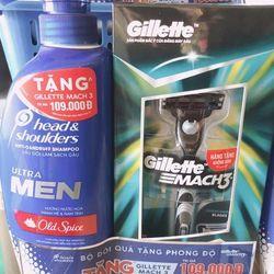 Hộp Quà Dầu Gội Head Shoulders UltraMen Bạc Hà Mát Lạnh 550ml Tặng Dao cạo râu Gillette giá sỉ