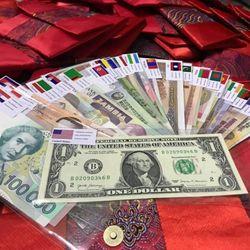 Túi lì xì bộ tiền 28 nước trên thế giới giá sỉ