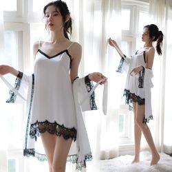 Đầm ngủ nữ có áo choàngam màu trắng đen sang trọng có thể tách mặc 2 đầm được-402