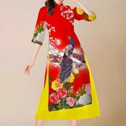 áo dài cách tân hoa cúc vàng kem chân váy giá sỉ