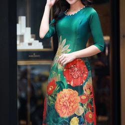 Set áo dài in hoa kết ngọc trai-MS2036AD giá sỉ, giá bán buôn