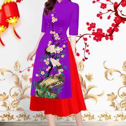 Set áo dài cổ trụ in mai hạt-MS2050AD giá sỉ