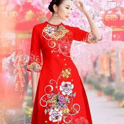 Set áo dài cách tân Gấm in hoa cẩm chướng-MS2025AD giá sỉ